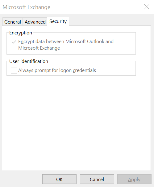 Outlook SSL setting screenshot