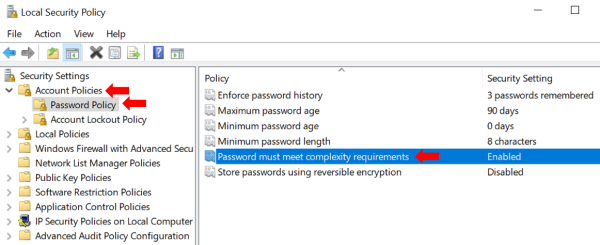 enforce password complexity in Windows 10