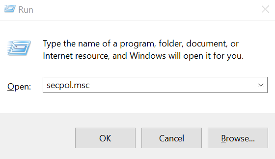 secpol.msc to open Local Security Policy editor in Windows 10