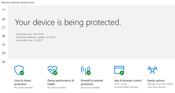 Windows Defender protects your PC