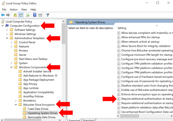 Using Local Group Policy Editor to enable bootup/startup password in Windows 10