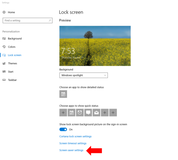 turning on automatic screen lockout in Lock screen settings in windows 10